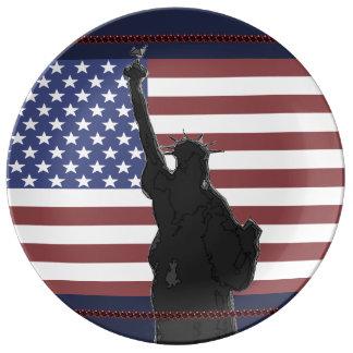 Patriotic USA American Flag Statue of Liberty Art Plate