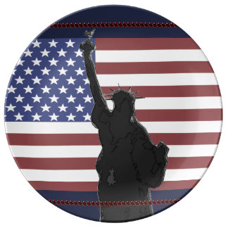 Patriotic USA American Flag Statue of Liberty Art Porcelain Plates