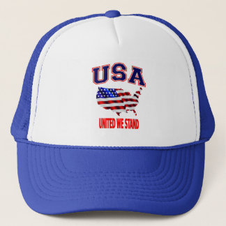 Patriotic USA American Flag United We Stand Trucker Hat