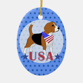 Patriotic USA Beagle Christmas Tree Ornament