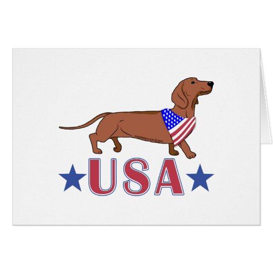 Patriotic USA Dachshund Card