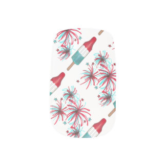 Patriotic USA Fireworks July 4th Rocket Pop Nails Minx Nail Art