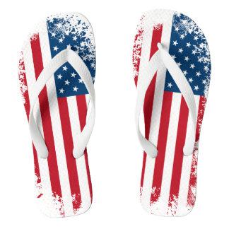 Patriotic USA Flag Adult Flip Flops Thongs
