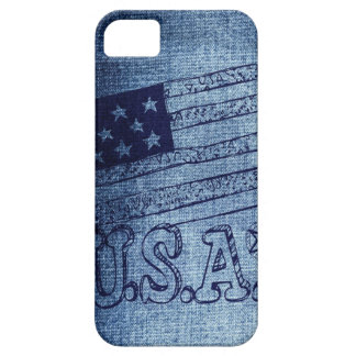 Patriotic USA Flag in Denim Blue iPhone 5 Covers