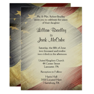 Patriotic USA Flag Wedding Invitations