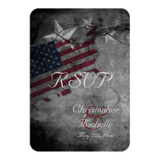 Patriotic USA Flag with Stars Wedding RSVP Cards 9 Cm X 13 Cm Invitation Card