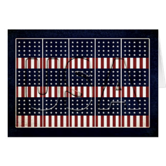 Patriotic USA Flags - God Bless the USA - Vintage Card