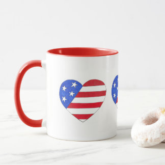 Patriotic USA Heart Red White Blue American Flag Mug