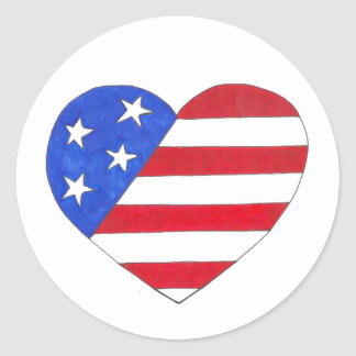 Patriotic USA July 4th American Flag Heart Love Classic Round Sticker