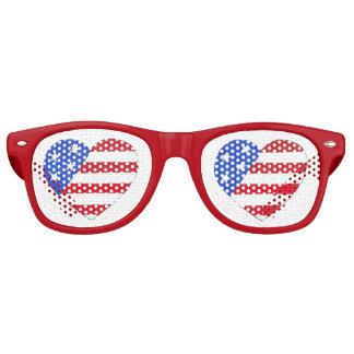 Patriotic USA July 4th American Flag Heart Shades