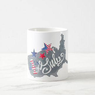 Patriotic USA Map 4th Of July Independence Day Coffee Mug