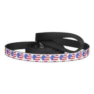 Patriotic USA Red Blue Flag Heart Love Dog Leash