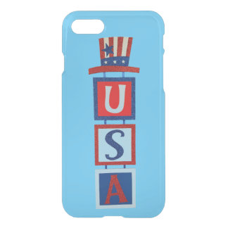 Patriotic USA sign with Uncle Sam Hat iPhone 7 Case
