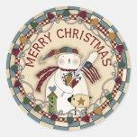 Patriotic USA Snowman Round Sticker