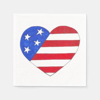Patriotic USA Stars Stripes Heart American Flag Paper Napkins