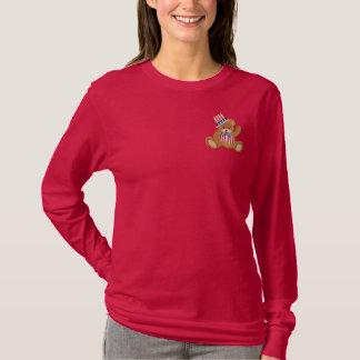 Patriotic USA Teddy Bear Embroidered Long Sleeve T-Shirt