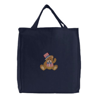 Patriotic USA Teddy Bear Embroidered Tote Bag
