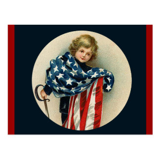 Patriotic Vintage_Boy and Flag_Postcard Postcard