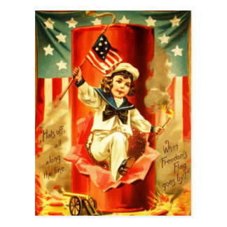 Patriotic Vintage Boy Fourth July Fireworks Card