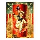Patriotic Vintage Boy Fourth July Fireworks Card Post Cards