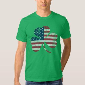 Patriotic Vintage Irish American Flag Shamrock T Shirts