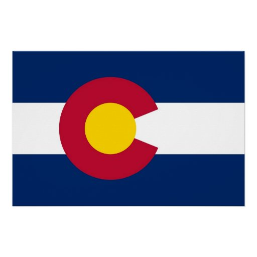 Patriotic wall poster with Flag of Colorado Perfect Poster