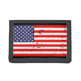 Patriotic wallets with vintage American flag