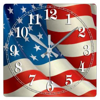 Patriotic Waving U.S. Flag Square Wall Clock