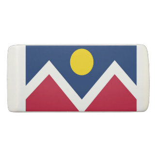 Patriotic Wedge Eraser with flag of Denver, USA