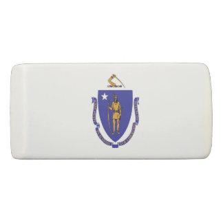 Patriotic Wedge Eraser with flag of Massachusetts