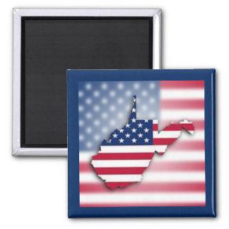 """Patriotic West Virginia 2"""" Square Magnet"""