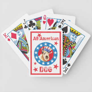 Patriotic Wheaten Bicycle Playing Cards