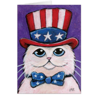 Patriotic White Persian Cat | Happy 4th of July Card