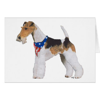 Patriotic Wire Fox Terrier Card