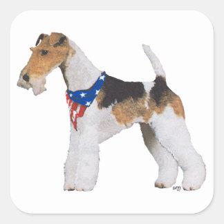 Patriotic Wire Fox Terrier Square Sticker