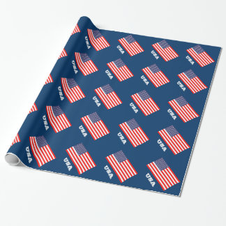 Patriotic wrapping paper with flag of America
