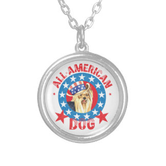 Patriotic Yorkie Silver Plated Necklace