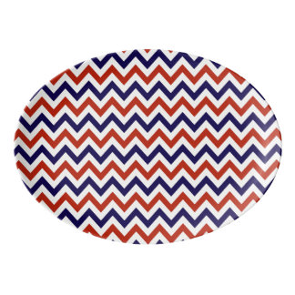 Patriotic Zigs & Zags Porcelain Serving Platter