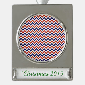 Patriotic Zigs & Zags Silver Plated Banner Ornament