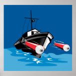 patrol torpedo boat firing missile poster