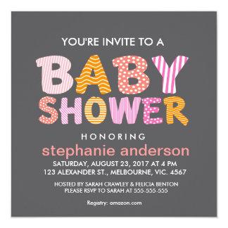 Patter filled baby shower letter for girl 13 cm x 13 cm square invitation card