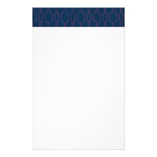 pattern121 ROYAL BLUE PINK DAMASK DECORATIVE SCROL Personalized Stationery