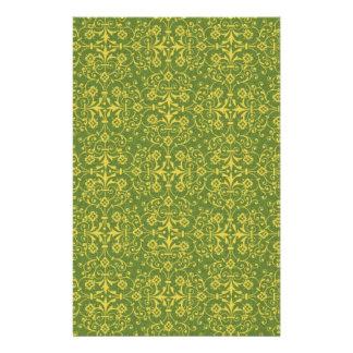 pattern72 GREEN YELLOW DECORATIVE SCROLL DIGITAL Custom Stationery