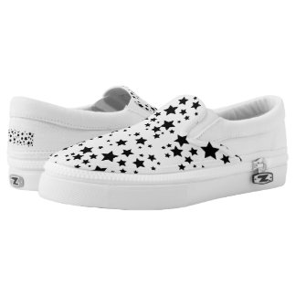 Pattern black stars printed shoes Slip Ons