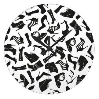 Pattern black Women's shoes Large Clock
