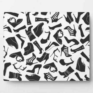 Pattern black Women's shoes Plaque