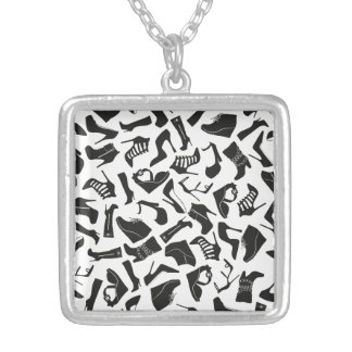 Pattern black Women's shoes Silver Plated Necklace