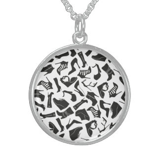 Pattern black Women's shoes Sterling Silver Necklace