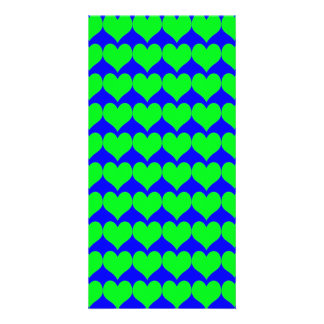 Pattern Blue Background with Green Hearts Personalized Photo Card