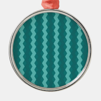Pattern Blue Stripes - Lines zigzag Silver-Colored Round Decoration